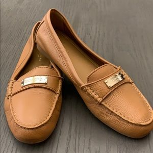 Tan leather Coach flats